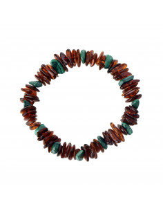 Cognac Polished Amber and African Jade Chip Adult Bracelet