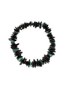 Cherry Polished Amber and African Jade Chip Adult Bracelet