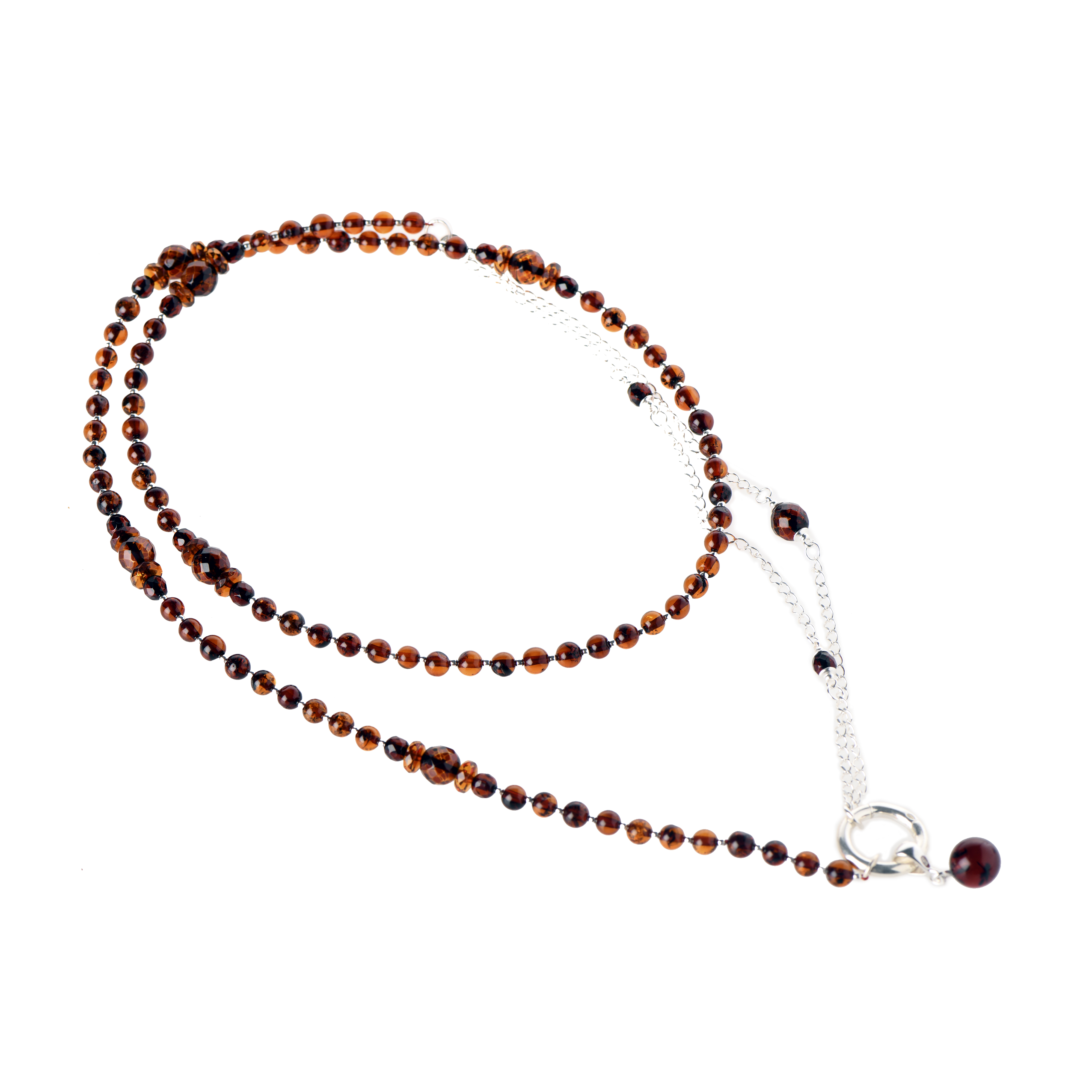 Delicate Cognac Amber Necklace With Chain And Pendant NF3