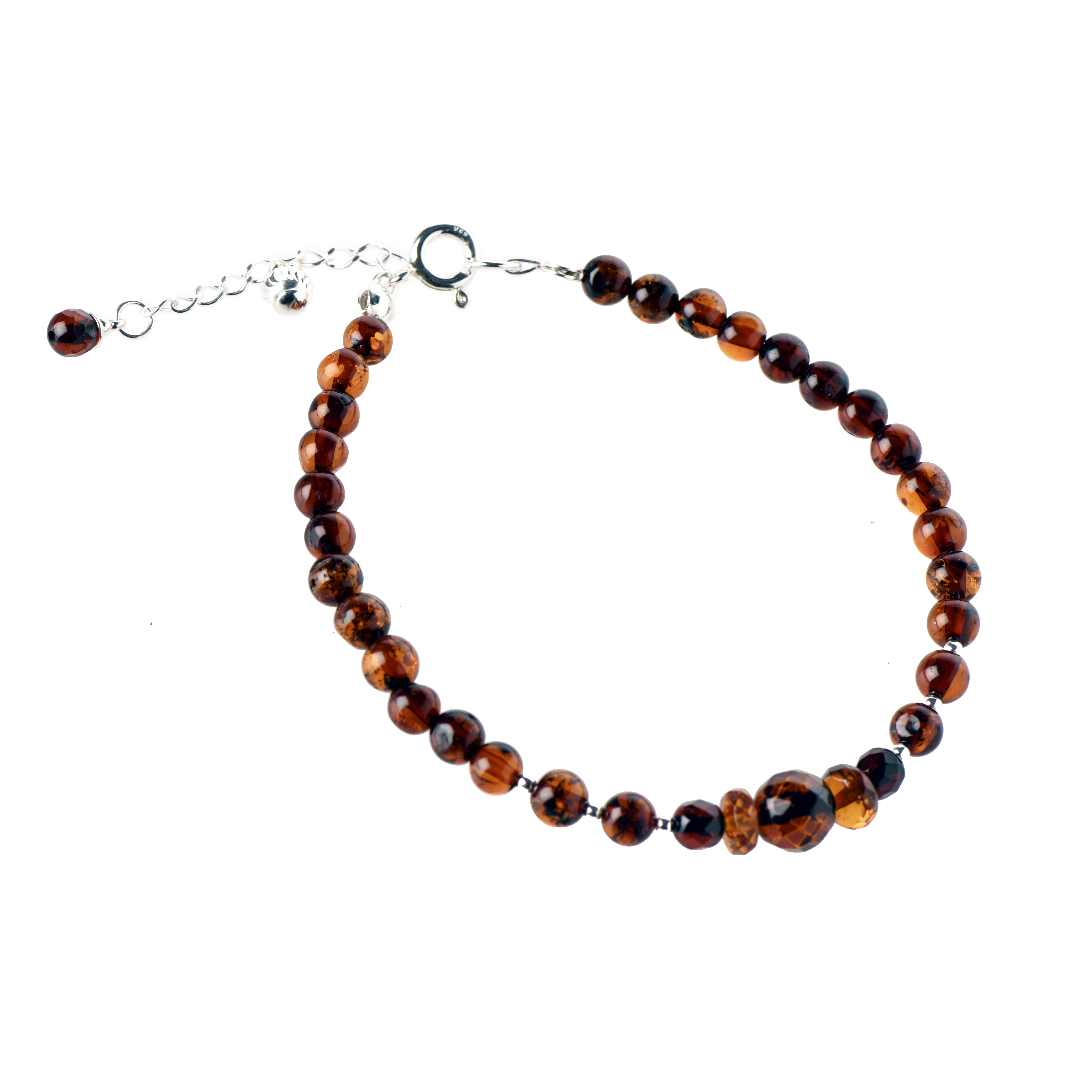 Delicate Cognac Amber Bracelet With Small Pendant WF2