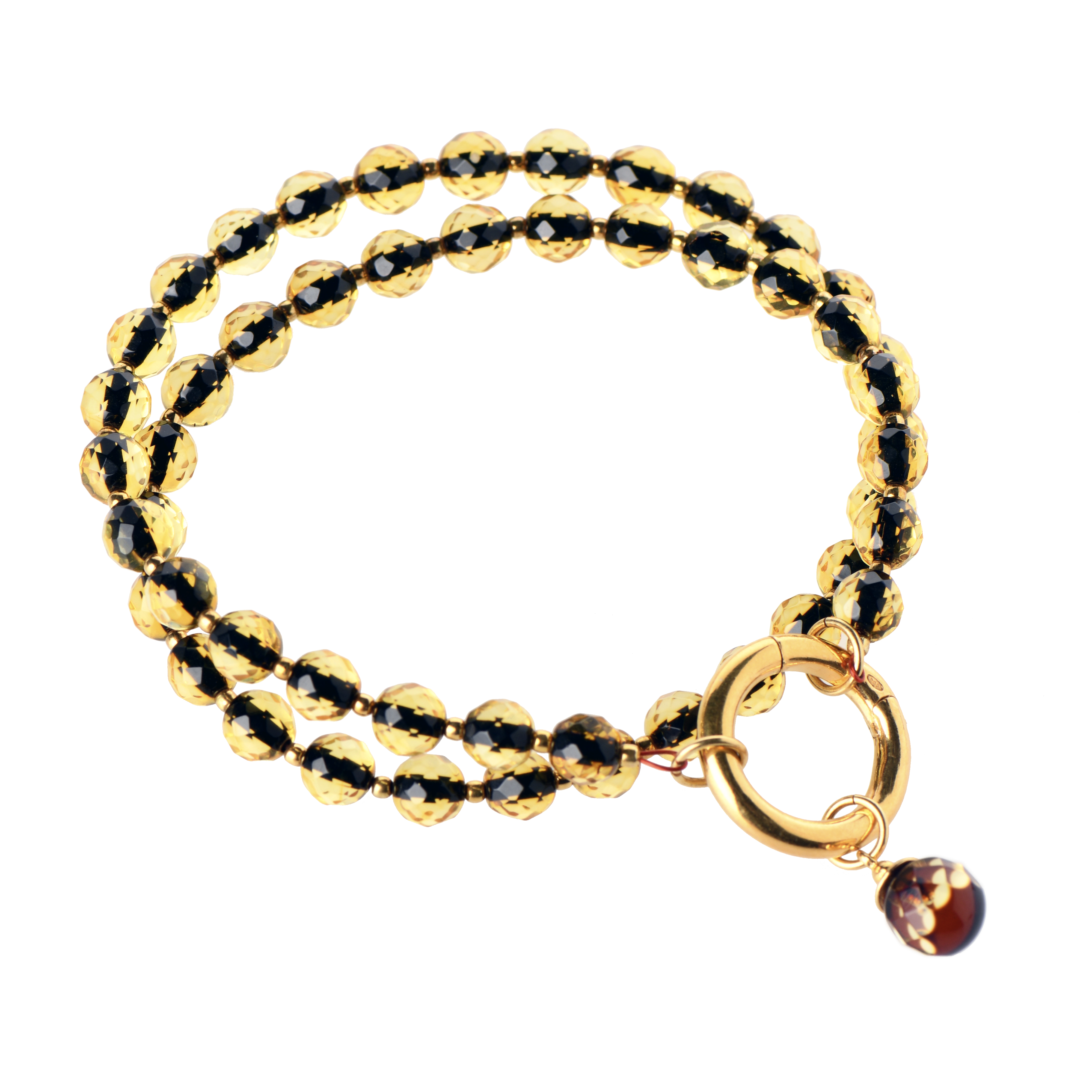Delicate Green Amber Bracelet With Gold Plated Ring And Pendant WF3