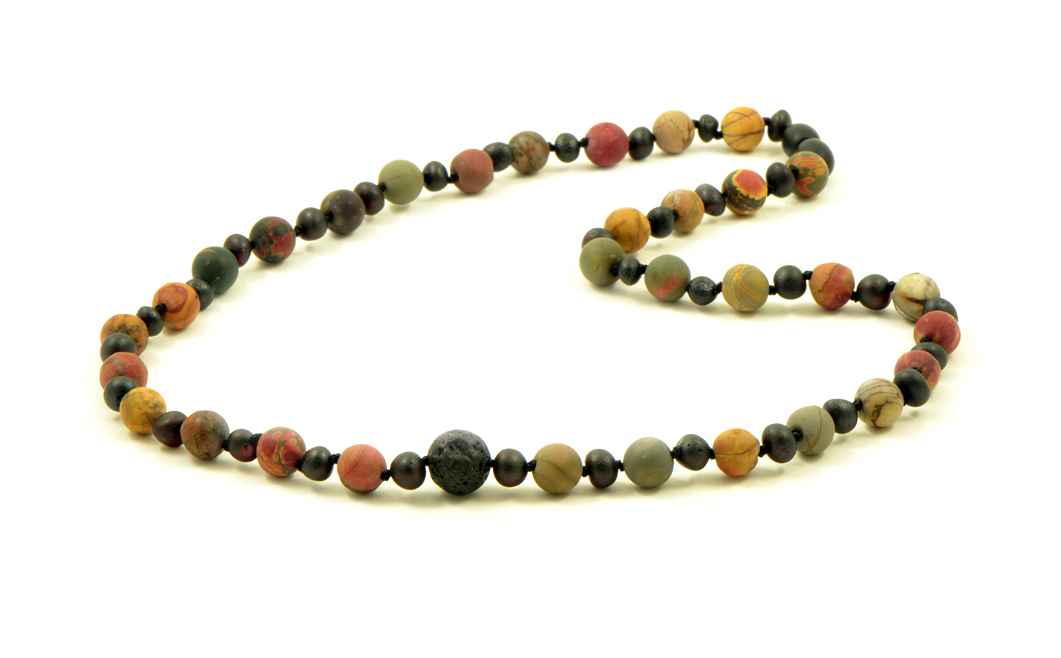 Amber and jasper adult necklace
